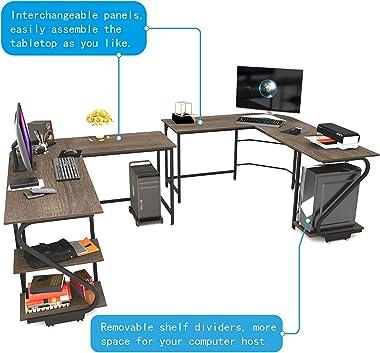 Weehom Reversible L Shaped Desk with Shelves Large Corner Computer Gaming Desks for Home Office Writing Workstation Wooden Ta