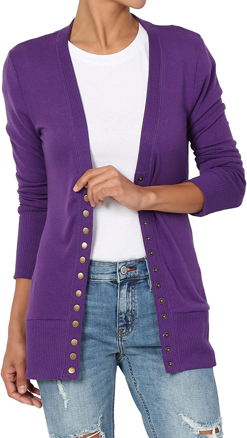 TheMogan S~XL Classic Snap Button Front V-Neck Long Sleeve Knit Cardigan