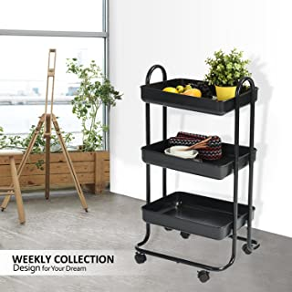 Rolling Cart Bathroom Utility Trolley Wohomo 3 Tier Cart with Handles and Locking Caster Wheels Small Beauty Salon Tool Cart Kitchen Bathroom( Black)