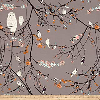 Art Gallery Fabrics Blithe Jersey Knit Bird Songs Fabric by The Yard, Sun