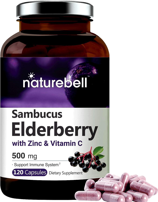 Sambucus Elderberry Capsules Immune National uniform free shipping Support with Seattle Mall Zinc Vitam and