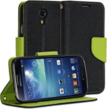 S4 Mini Case, GMYLE (R) Wallet Case Classic for Samsung Galaxy S4 Mini i9190/ i9195 - Black & Green PU Leather Slim Magnetic Flip Stand Cover