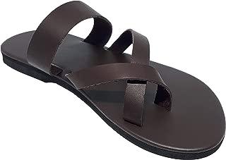 Men's Cross Toe Genuine Leather Thong Biblical Flip Flops Sandals Free Beach Bag