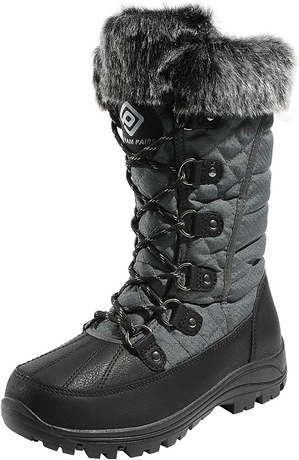 DREAM PAIRS Women's Mid Calf Lace Up Warm Faux Fur Lined Cold Weather Insulated Winter Snow Boots