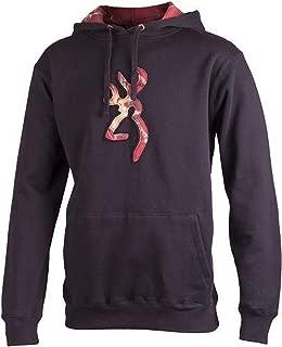 Mens Browning Buckmark Camo Hoodie Black Mossy Oak Red Camo Sweatshirt (2XL)
