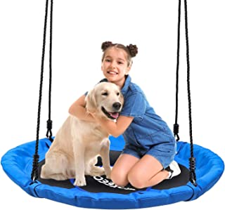 ENKEEO Saucer Tree Swing 600 lbs Weight Capacity Hanging Swing Strap for Kids Adults and Adjustable Multi-Strand Ropes Kit,Waterproof 900D Oxford Anti-Fade Seat Easy Install, 40 Inches Diameter