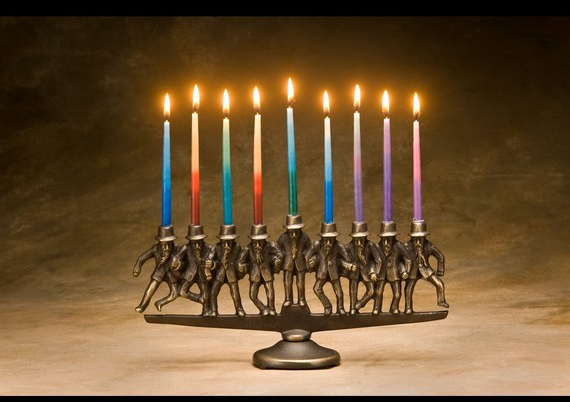 Dancing Rabbi Menorah 9 candle in solid bronze by Nelles on Etsy