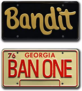 Celebrity Machines Smokey and The Bandit | Burt Reynolds Trans Am | Bandit + BAN ONE | Metal Stamped Vanity Prop License Plate Combo