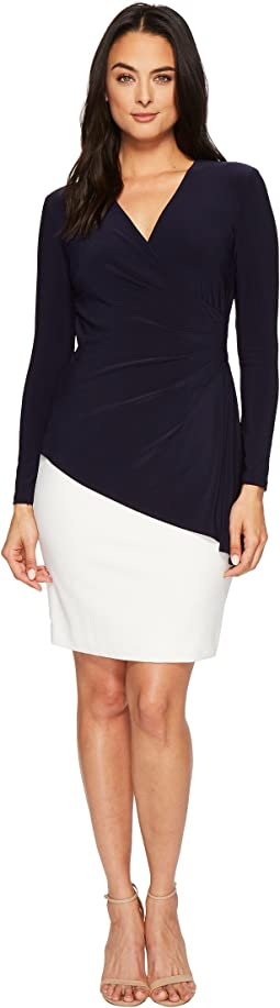 LAUREN Ralph Lauren Essen Combo Luxe Tech Crepe w/ Matte Jersey Dress