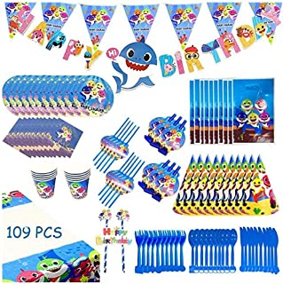 Baby Shark Party Supplies Set - 109 Pcs Baby Shark Themed Birthday Decorations Includes Disposable Tableware Kit Blowing D...