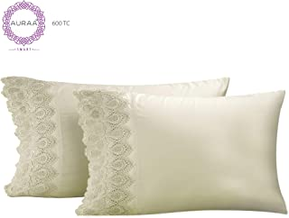 AURAA Smart 600 Thread Count Cotton Rich, 2 Piece King Size Pillow Case Set, LACE Hem, Smooth & Soft Sateen Weave, Hotel Quality, Sage