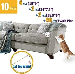 CAILENI 10 Pack Furniture Scratch Guards, Furniture Protectors from Cats, Cat Scratch Deterrent, Cat Claw Protector, Anti-Scratching Sofa Protector, Couch Protector with 60 Pins, Stop Cat Scratching