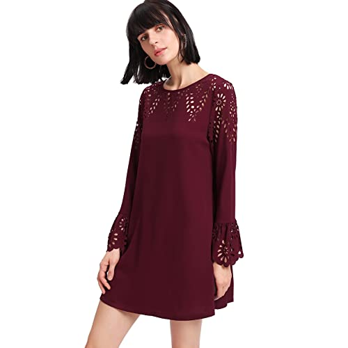 defe37372070 Milumia Women s Solid Long Sleeve Hollow Casual Swing Dress