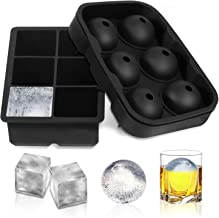 RoyalPolar Ice Cube Trays Silicone Set of 2, Sphere Round Ice Ball Maker and Large Square Ice Cube Mold for Chilling Burbo...