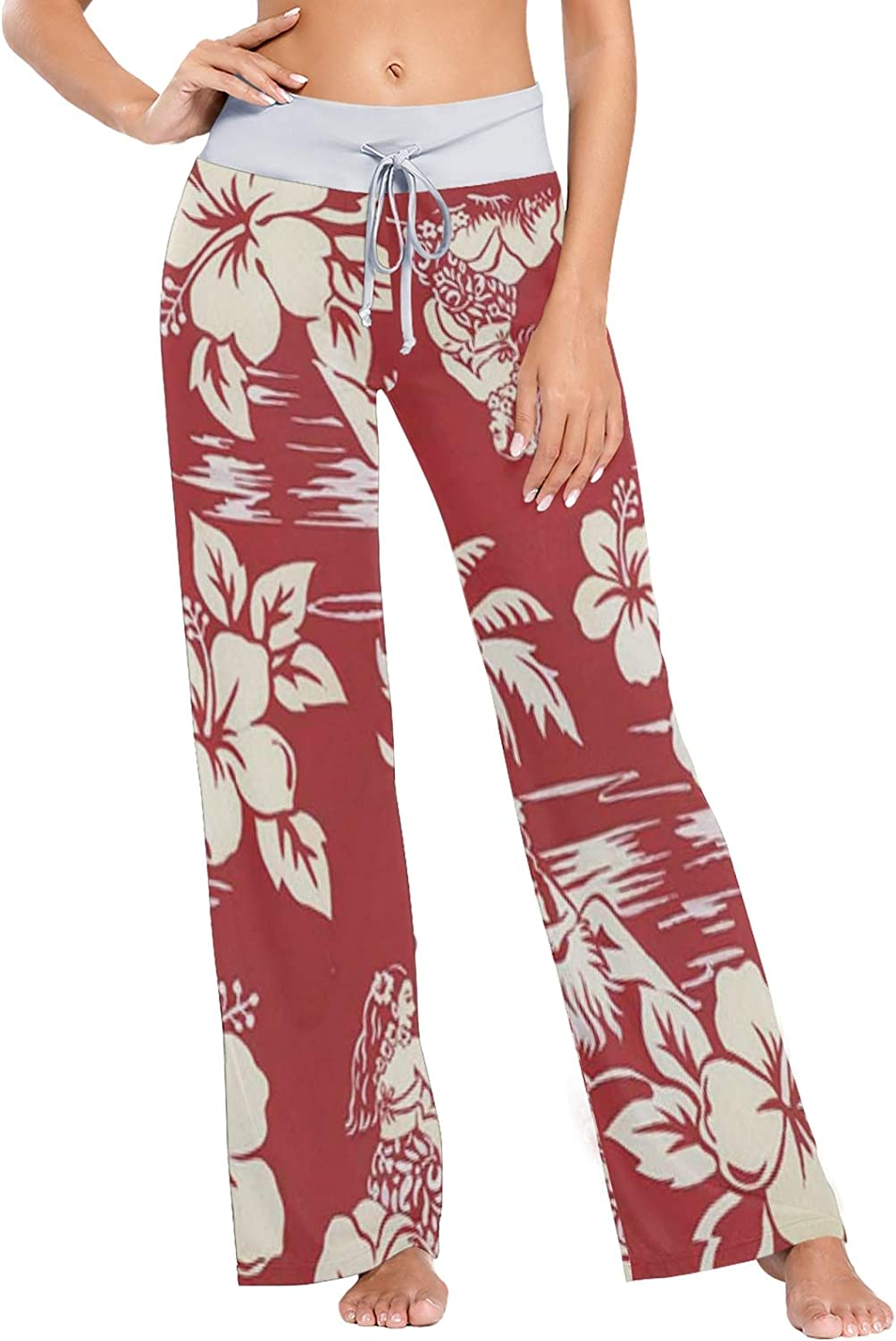 MSACRH Pajama Pants for Women Outlet sale feature Outlet sale feature Red Flowers Sleepwear Wide