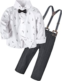 BIG ELEPHANT 2 Pieces Baby Boys Long Sleeve Dresses Shirt Overalls Set White