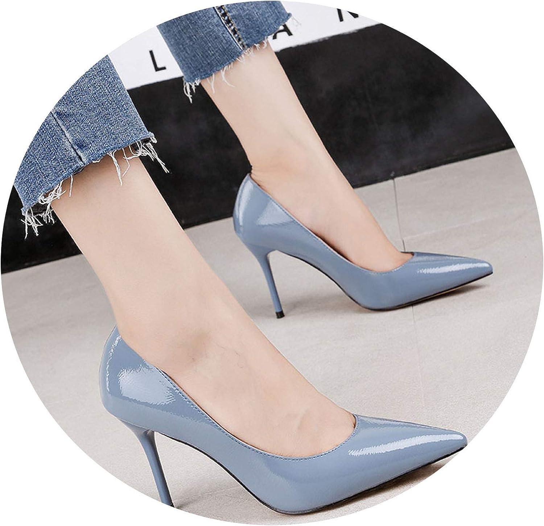 JIESENGTOO 2019 Women Fetish 9cm High Heels Bridal Stiletto Heels bluee Nude Leather Pumps Lady Elegant