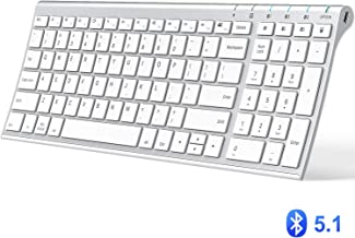 iClever Bluetooth Keyboard, Multi Device Keyboard Rechargeable Bluetooth 5.1 with Number Pad Ergonomic Design Full Size Stable Connection White Keyboard for iPad, iPhone, Mac, iOS, Android, Windows