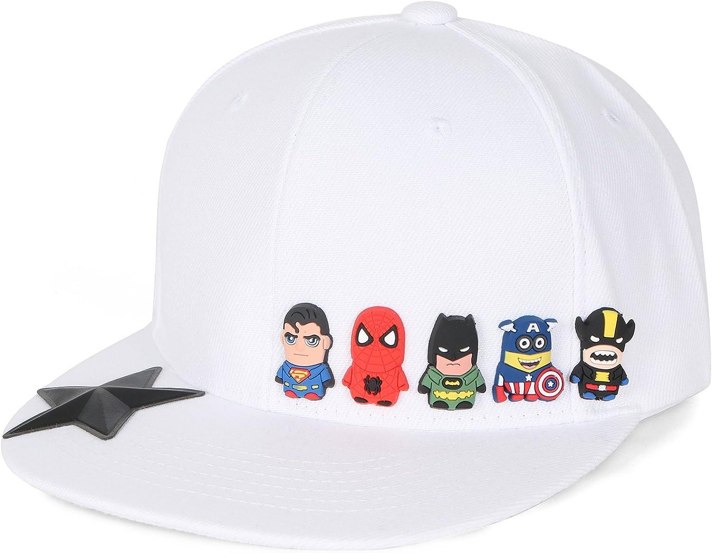 ililily Cute Superheroes Rubber Charms Hat Bill Ba Portland Spring new work Mall Snapback Flat