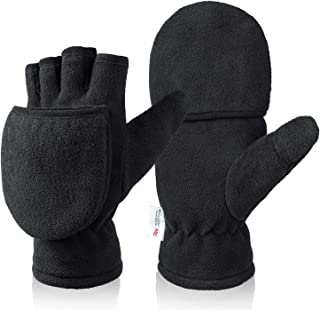 Bessteven Winter Convertible Gloves Flip Top Mittens with Thick Thermal Warm Polar Fleece for Texting Photographing Runnin...