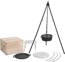 Mayer Barbecue Brenna Schwenkgrill Set, Dutch Oven Set mit Dreibeinständer, Dutch Oven 5,5 l, Gusseisenpfanne, Edelstahl-Grillrost & Untersetzer