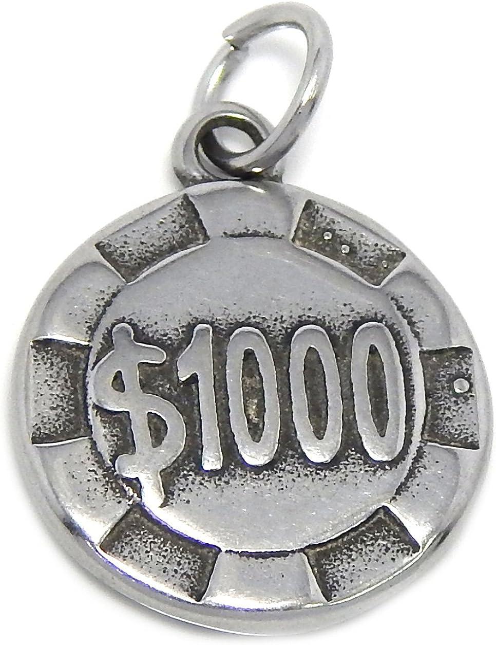 ICYROSE Stainless Steel Dangling $1000 Poker Chip Plaque Charm Bead 101 for European Snake Chain Bracelets
