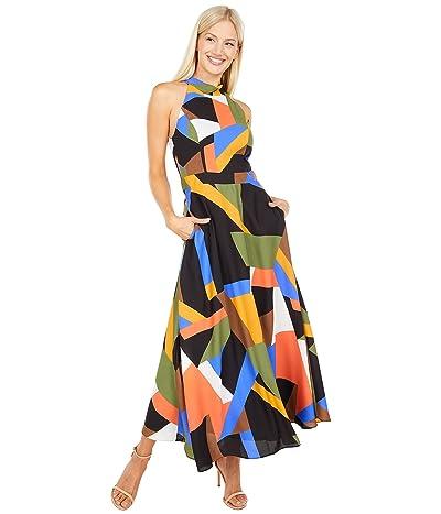 Tahari by ASL Geometric Printed Georgette Mock Neck Maxi Dress