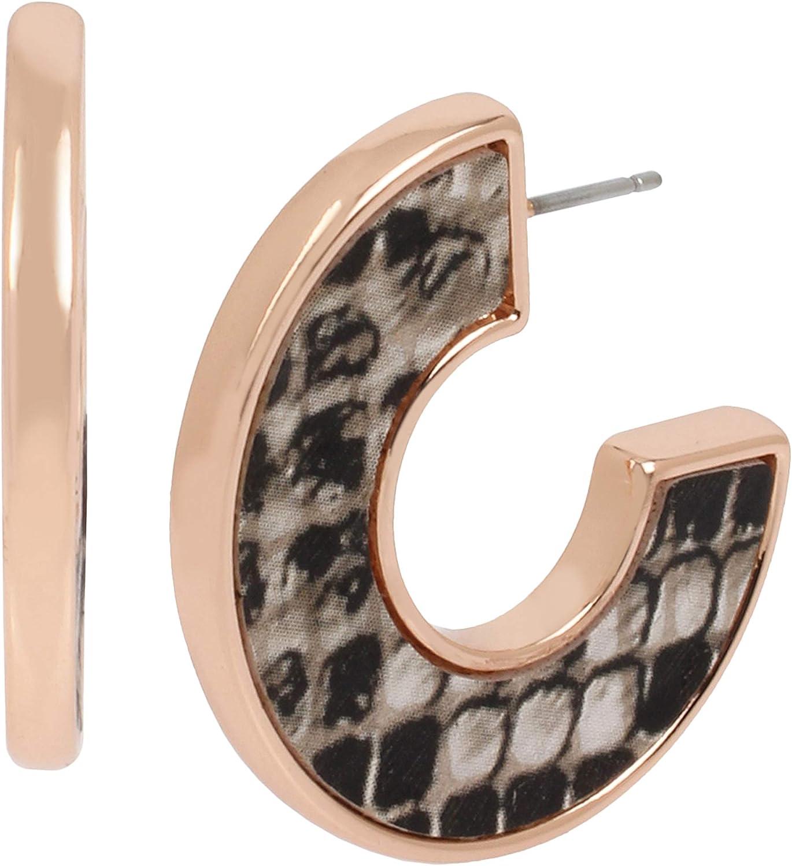 Kenneth Cole Women's Inlay Flat Hoop Earrings, Snake Skin, One Size