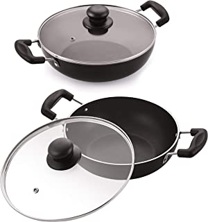 Celebrino 2 Pcs Deep Kadai Set Glass Lid, Heat-Resistant Strong Handle, Heavy Guage 4mm Thick Aluminum Cookware for Induct...