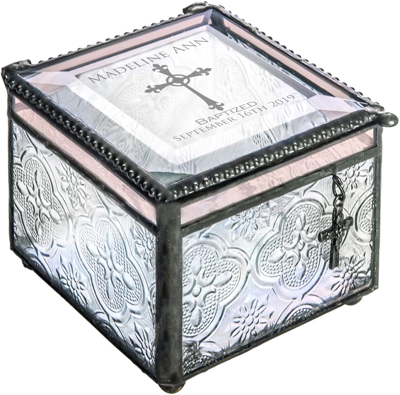 Baptism Gift Personalized Keepsake Custom Engraved Vintage Stained Glass Jewelry Trinket Rosary Case Christening Gift J Devlin Box 631 EB222