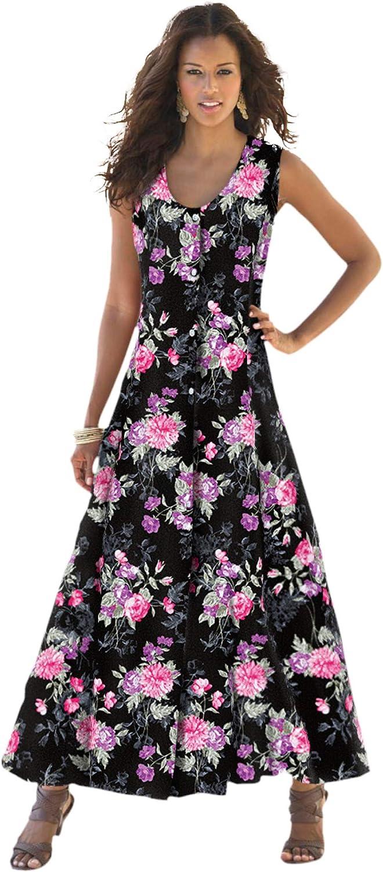 Roamans Women's Plus 日本最大級の品揃え Size 買取 Dress Button-Front Crinkle Everywhere