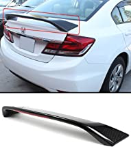 Cuztom Tuning Fits for 2013-2015 9TH Gen Honda Civic Sedan Si Style Carbon Fiber LED Trunk Spoiler Wing