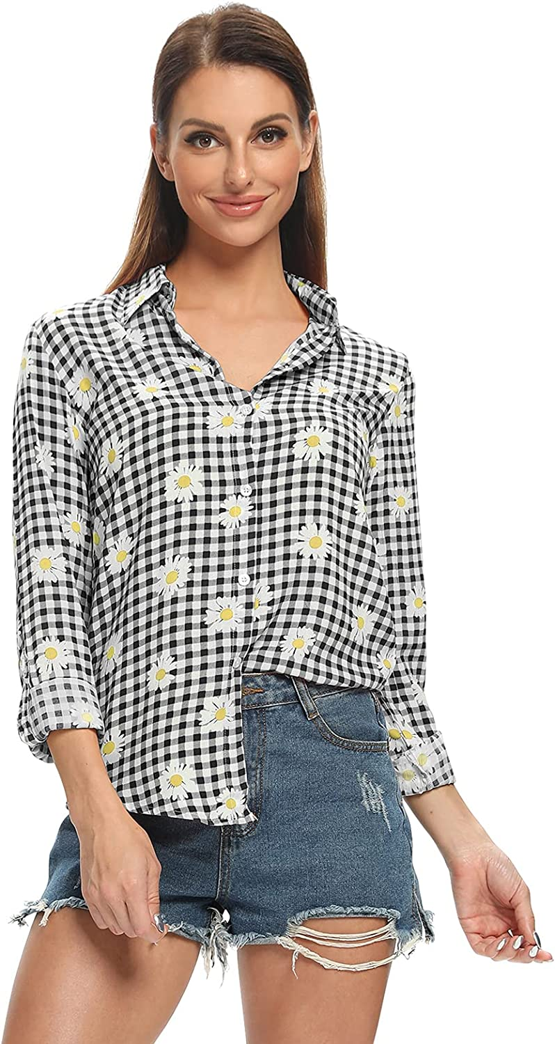 Women V Neck Striped Roll up Sleeve Button Down Plaid Shirt Casual Blouses Checked Tops D Black XS