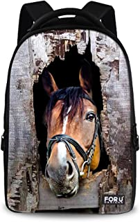 FOR U DESIGNS 18 Inch Cool Horse Outdoor Animal School Backpack for Students