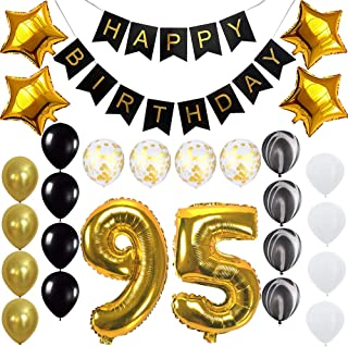 Happy 95th Birthday Banner Balloons Set For 95 Years Old Party Decoration Supplies Gold Black