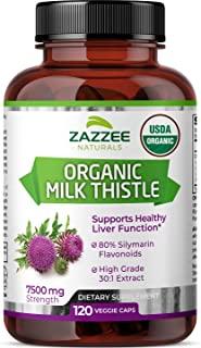 Zazzee USDA Organic Milk Thistle Extract Capsules, 120 Vegan Capsules, 7500 mg Strength, 80% Silymarin Flavonoids, Potent ...