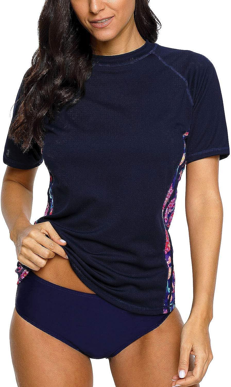 Maysoul Women Short Sleeve Rash Guard Floral Swim Shirts Swimsuit Tops