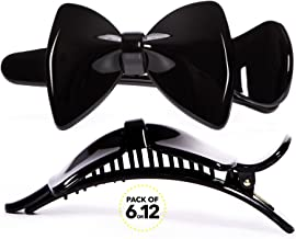 RC ROCHE ORNAMENT Womens Hair Ribbon Bow Clip Cute Pretty Plastic No Slip Strong Grip Hold Girls Ladies Beauty Accessory Styling Pin Jaw Clamp, 12 Pack Count Small Black