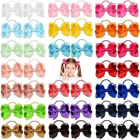 40pcs 3 pulgadas bebés arcos del pelo lazos del pelo de la venda elástico del Ponytail de la banda para el cabello accesorios para niños pequeños para niños