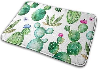Watercolor Cactus Plants Doormat Non Slip Indoor/Outdoor Door Mat Floor Mat Home Decor, Entrance Rug Rubber Backing Large 23.