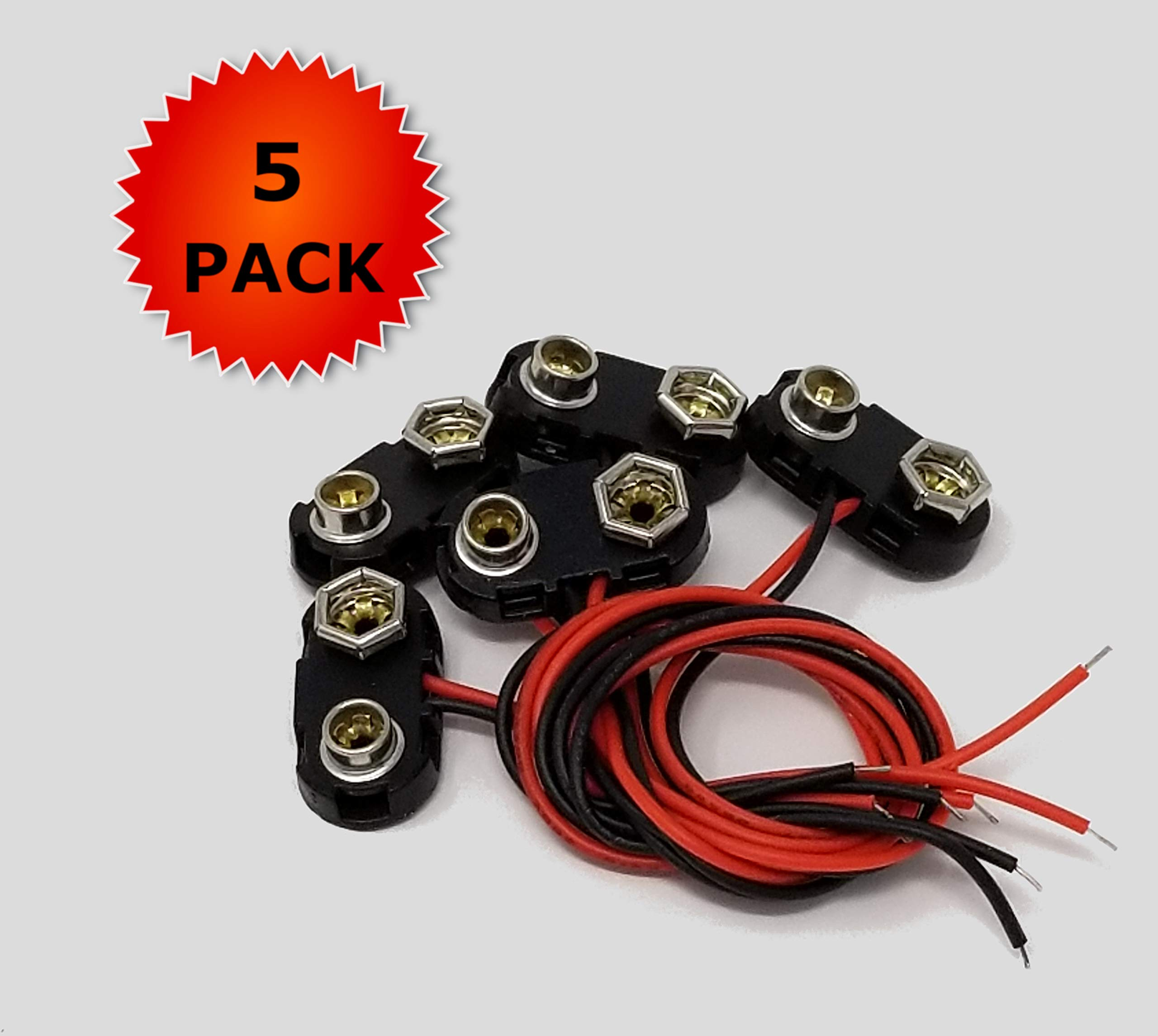 5pack 9v Battery Clips with Bare Leads by Maker Supply