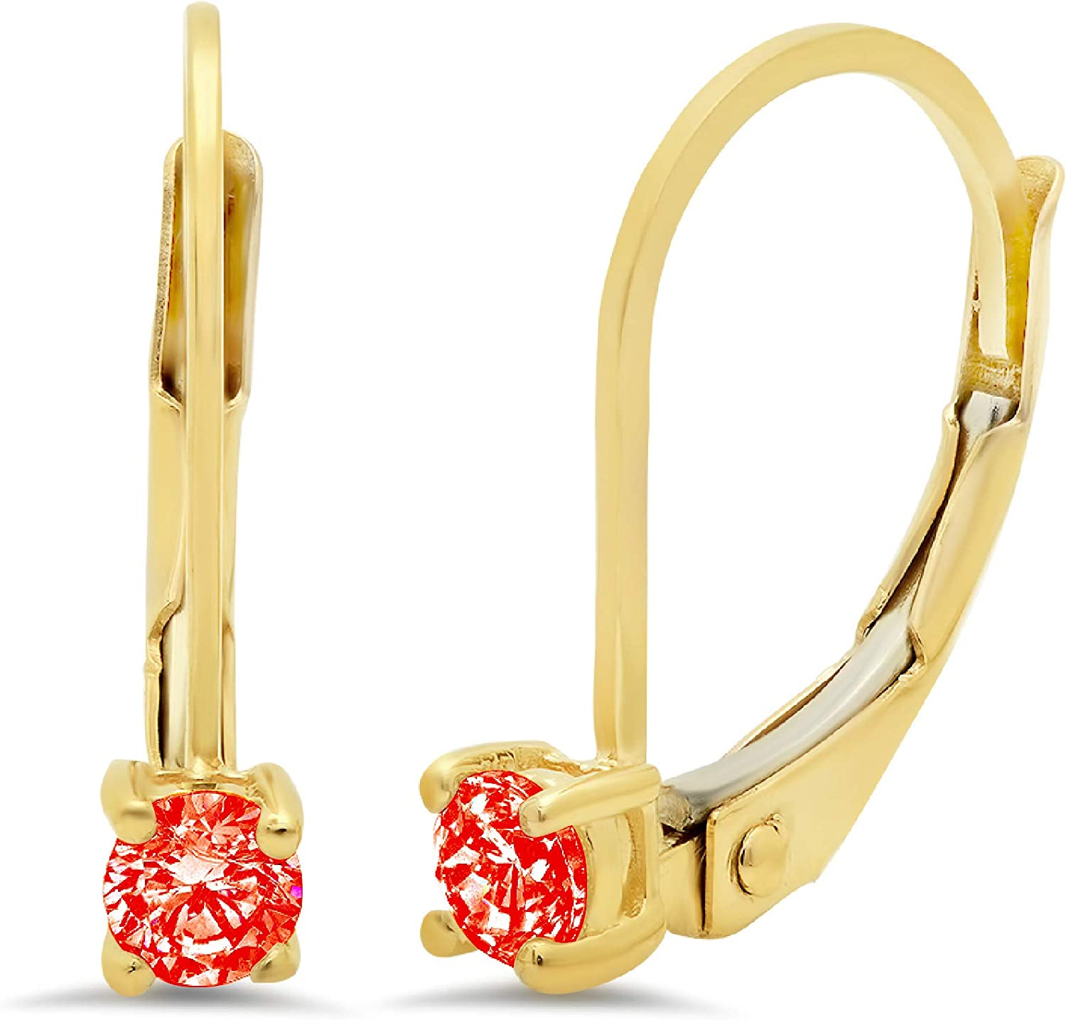 0.20 ct Round Cut ideal VVS1 Conflict Free Gemstone Solitaire Red Simulated Diamond CZ Designer Lever back Drop Dangle Earrings Solid 14k Yellow Gold