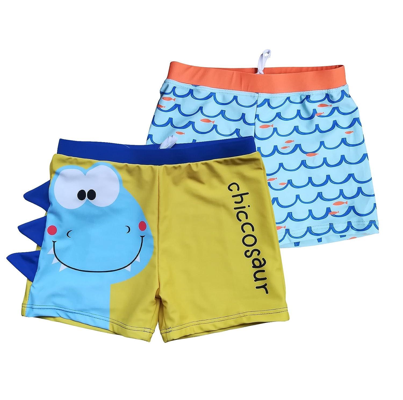 BONVERANO Boys Boardshorts UPF 50 Sun Protection Swim Shorts with Sun Cap 2 Pack