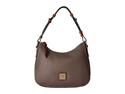 Dooney & Bourke Pebble Small Kiley Hobo (Elephant/Tan Trim) Handbags