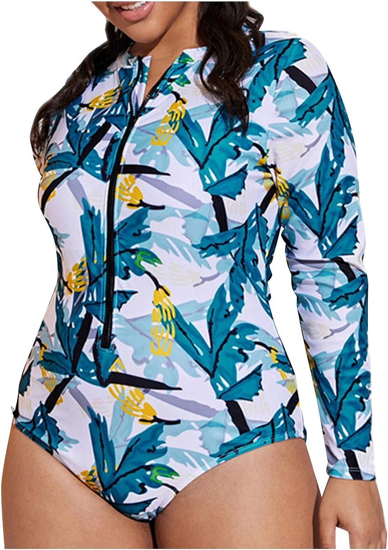 BEAUTYVAN Women Rash Guard Long Sleeve One Piece Swimsuit Zipper Surfing Bathing Suit Plus Size Printed Swimwear
