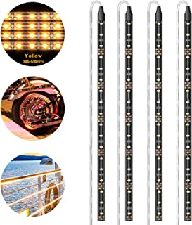 Geeon 4-Pack Car LED Strip Lights 12``/30CM Amber Yellow (585-595nm) 12V Waterproof for Interior Automotive Truck Boats Li...