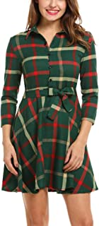 Zeagoo Women Lapel 3/4 Sleeve Plaid Belted Casual A-line Swing Shirt Dress S-XXL