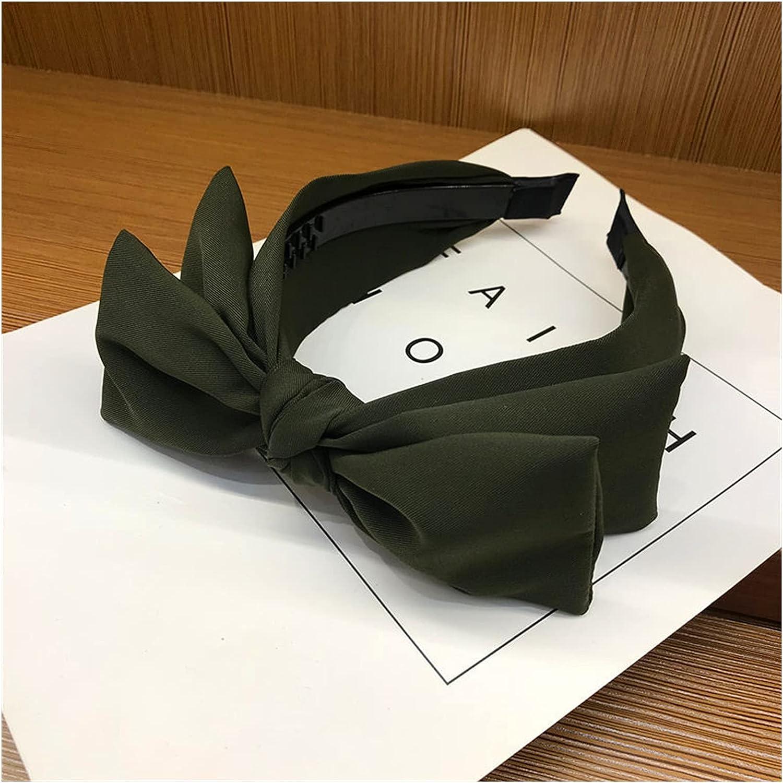 WUBBHIN Headband 1PC Fashion Solid Color Hair Hoop for Women Double Layer Bow Hair Headband Sweet Hair Bezel Girl Headwear Hair Accessories (Farbe : Army Green)
