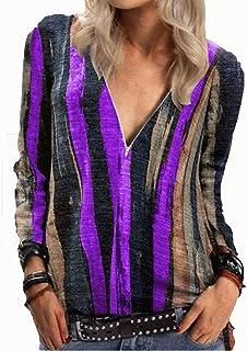 Women's Causal Tunics Sexy V-Neck Zipper Long Sleeves Pullover Sweatshirts Tops Basic T-Shirt Blouse Shirts Tee (Color : P...