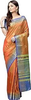 AKHILAM Women's Silk Blend Saree with Unstitched Blouse Piece (Orange_Free Size)